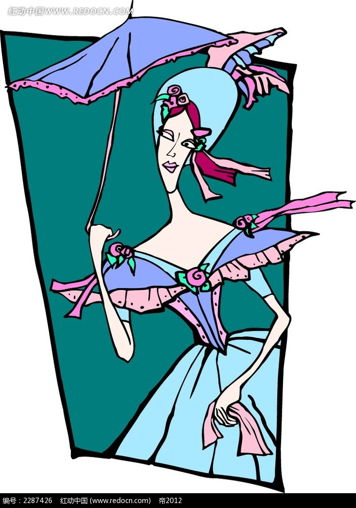 打伞的女子卡通手绘