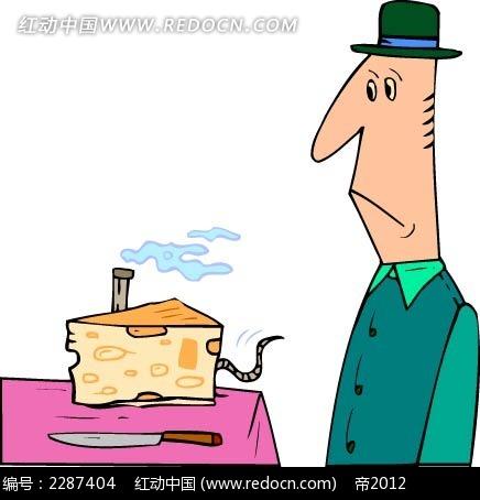蛋糕和男子卡通手绘