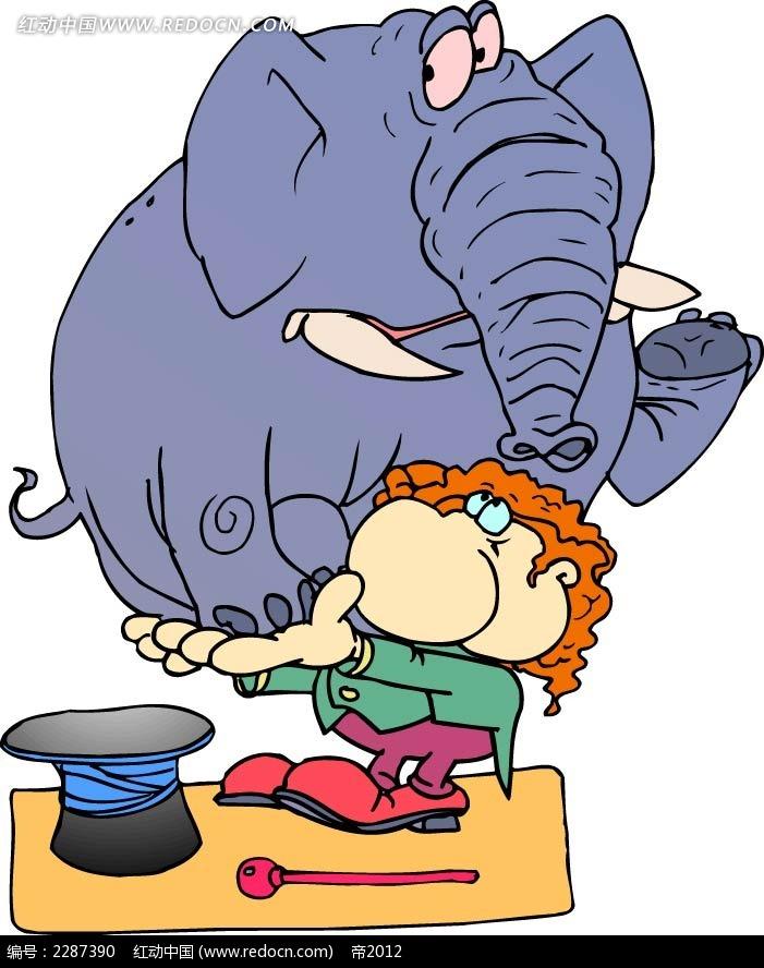 大象和小孩卡通手绘