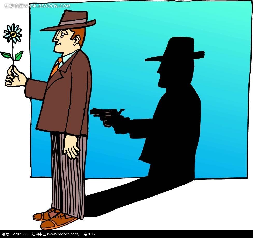 拿花的男子卡通手绘