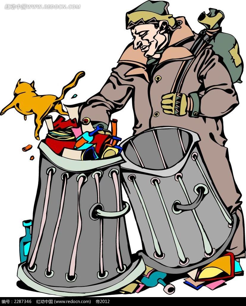 捡垃圾的男子卡通手绘AI素材免费下载 编号2287346 红动网