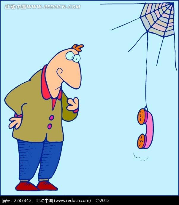 男子和电话卡通手绘