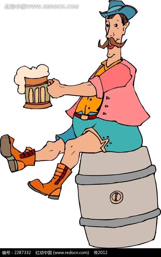 啤酒和男子卡通手绘