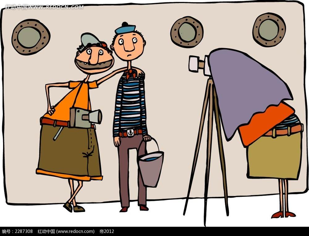 拍照的男子卡通手绘