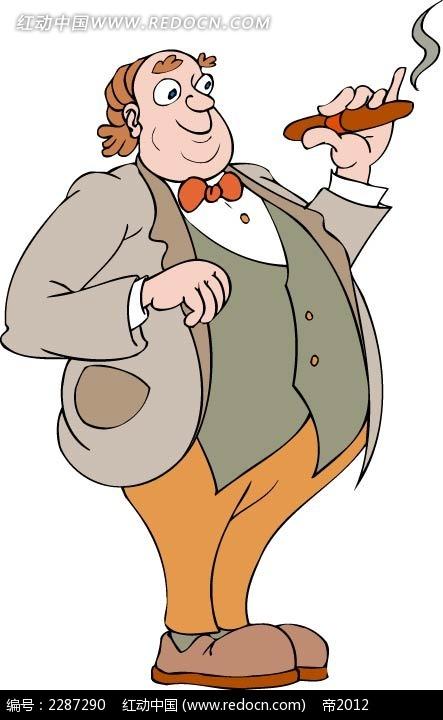抽烟的男子卡通手绘