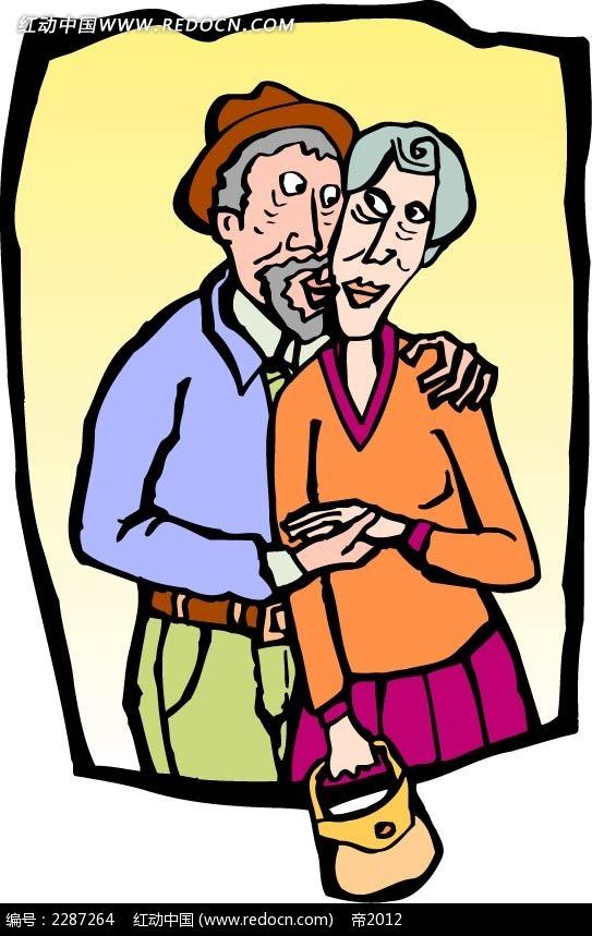 拥抱的男子女子卡通手绘图片