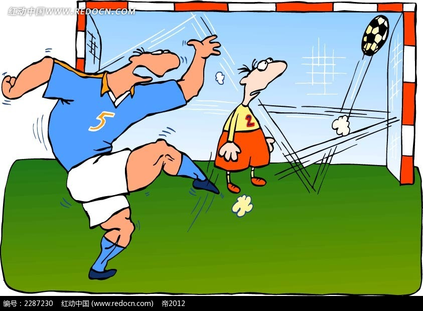 踢足球的男子卡通手绘
