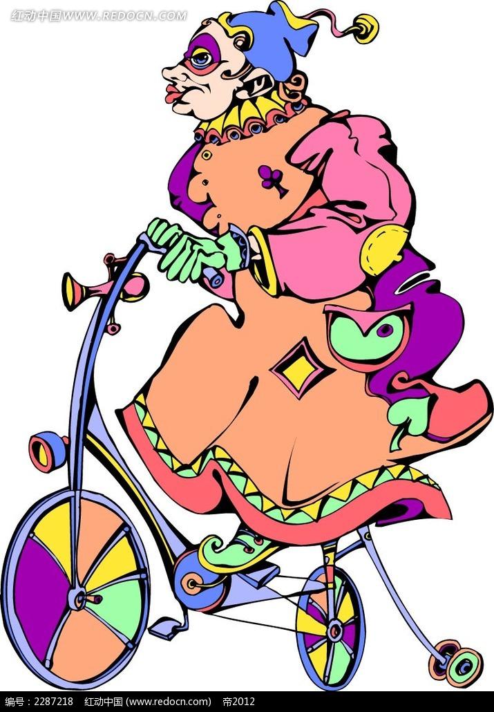 骑自行车的小丑卡通手绘