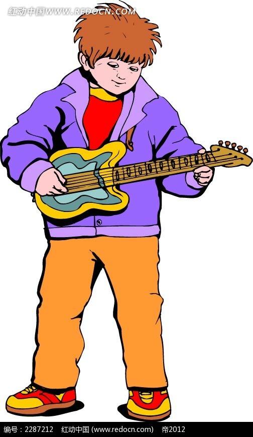 弹吉他的男孩卡通手绘