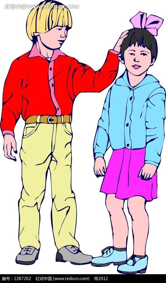 男孩和女孩卡通手绘