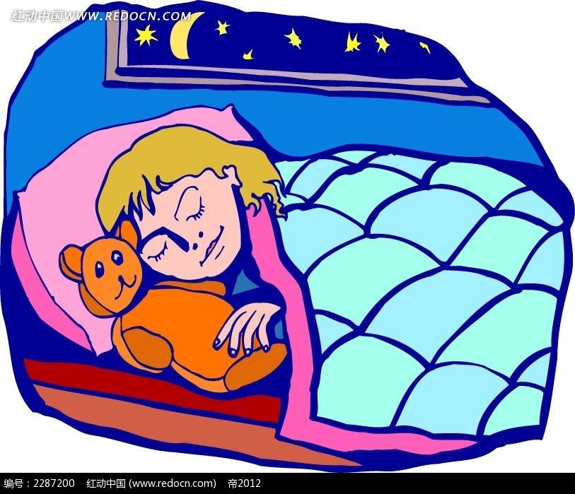 睡觉的女孩卡通手绘