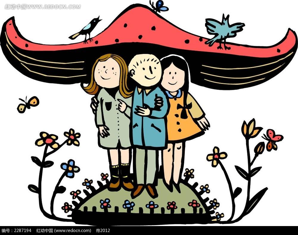 蘑菇和小孩卡通手绘