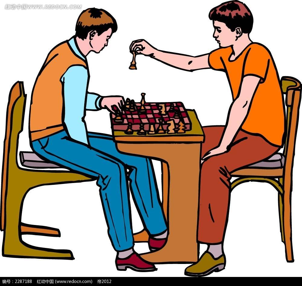 下国际象棋的男孩卡通手绘