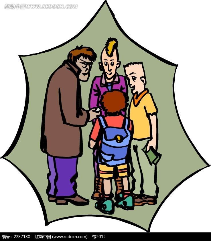 大人和小孩卡通手绘