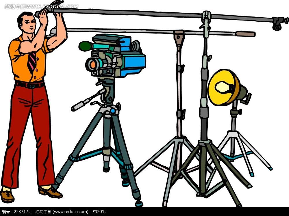 摄影棚和男子卡通手绘