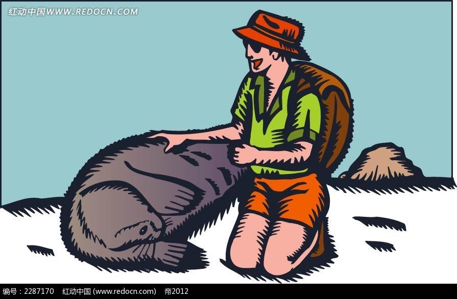 男孩和动物卡通手绘