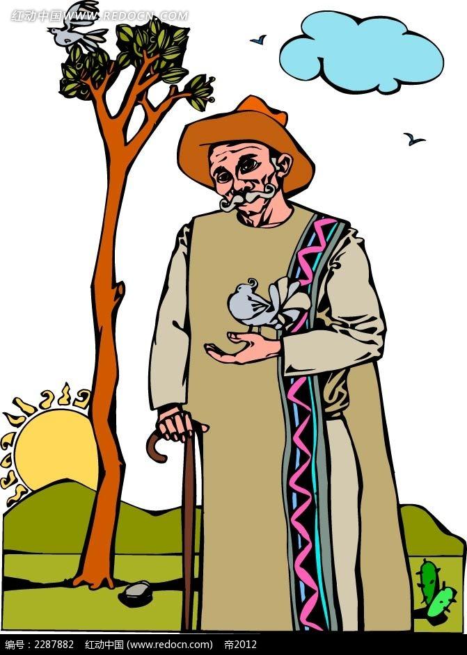 树和老人卡通手绘
