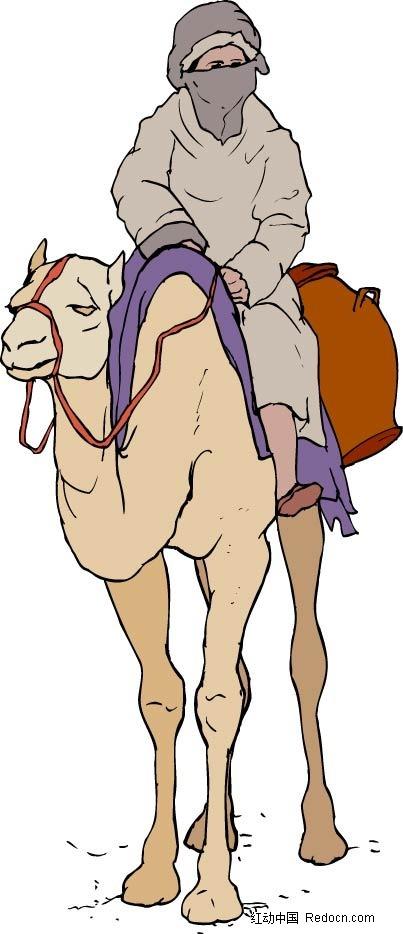 骑骆驼的男子卡通手绘图片