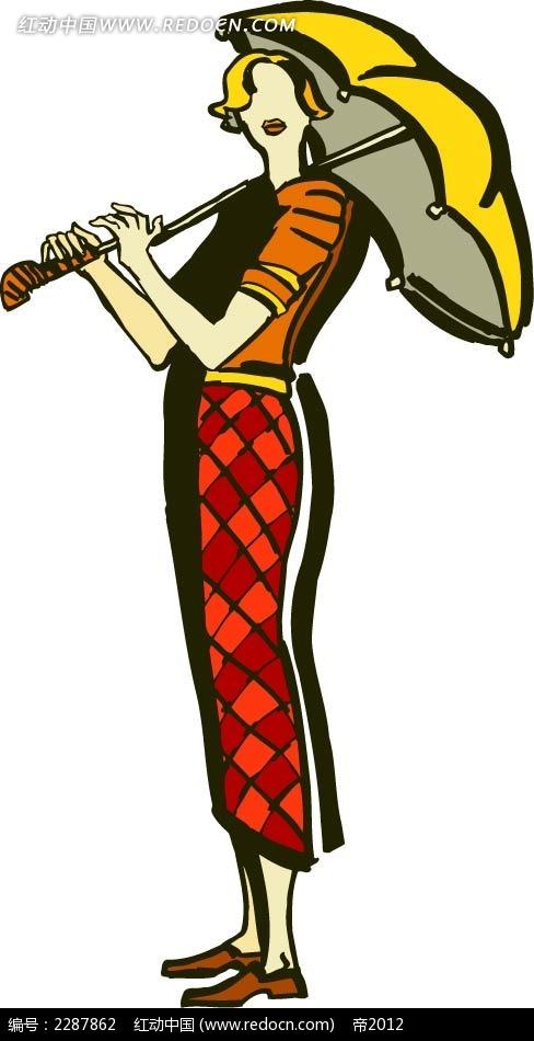 撑伞的美女卡通手绘