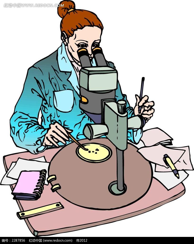 显微镜和女子卡通手绘