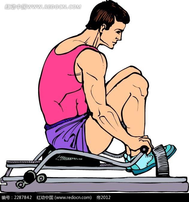 锻炼的男子卡通手绘