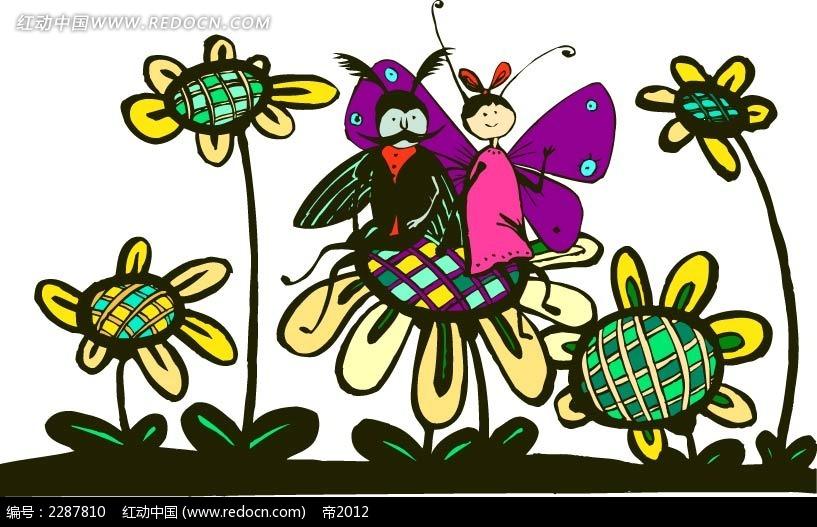 花朵和蝴蝶蜜蜂卡通手绘