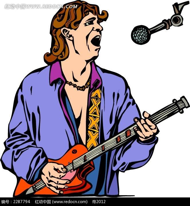 唱歌的男子卡通手绘矢量图ai免费下载