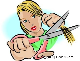 剪头发的女孩卡通手绘
