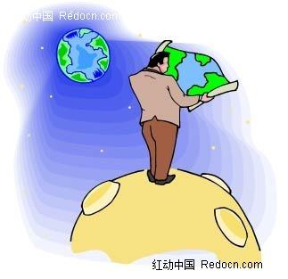 看地图的男子卡通手绘
