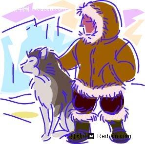 小孩和狗卡通手绘