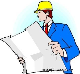 拿着图纸的工程师卡通手绘