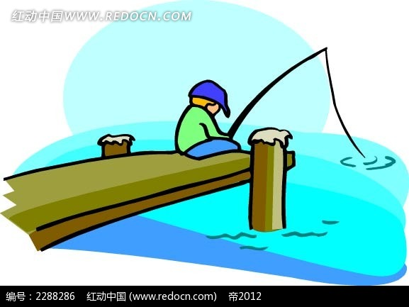 钓鱼的男孩卡通手绘
