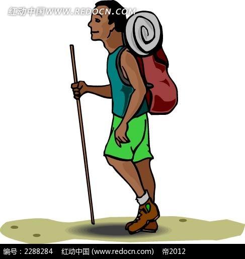 背包的男子卡通手绘