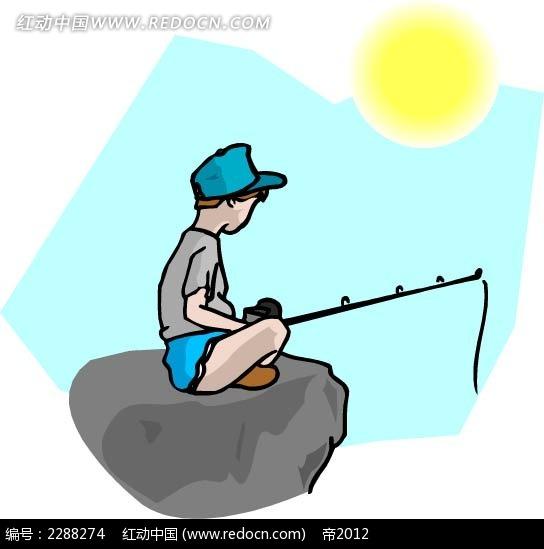 钓鱼的小孩卡通手绘