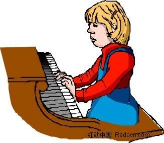 弹钢琴的女孩卡通手绘