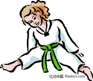 跆拳道女孩卡通手绘