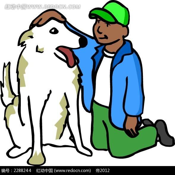 男孩和狗卡通手绘