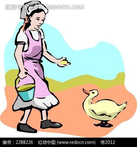 喂鸭子的女人卡通手绘
