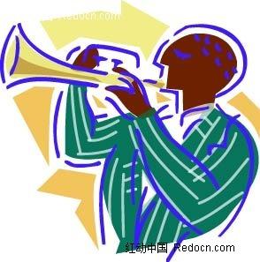 吹喇叭的男子卡通手绘