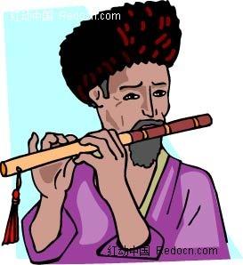 吹笛子的老人卡通手绘
