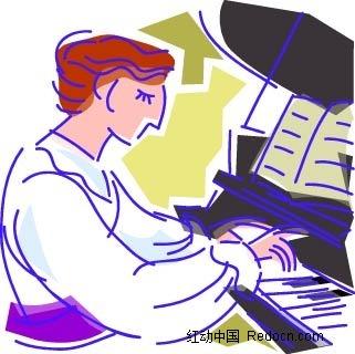 弹钢琴的女子卡通手绘