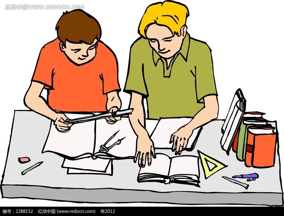 学习的男孩卡通手绘