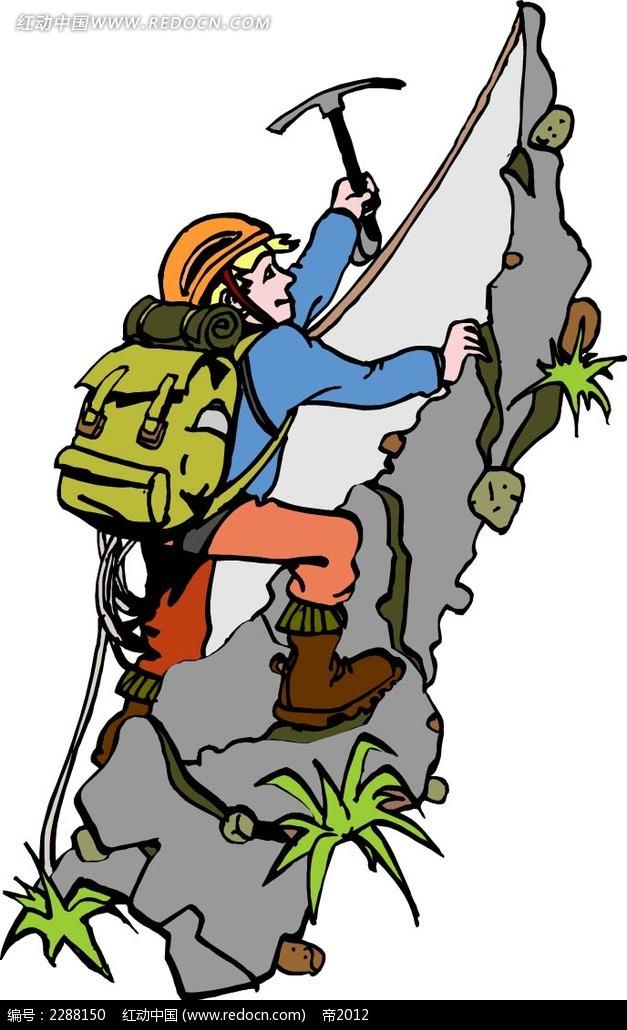 爬山的男子卡通手绘