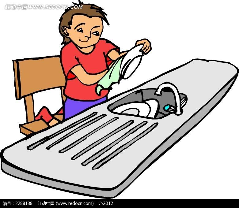 洗碗的男孩卡通手绘