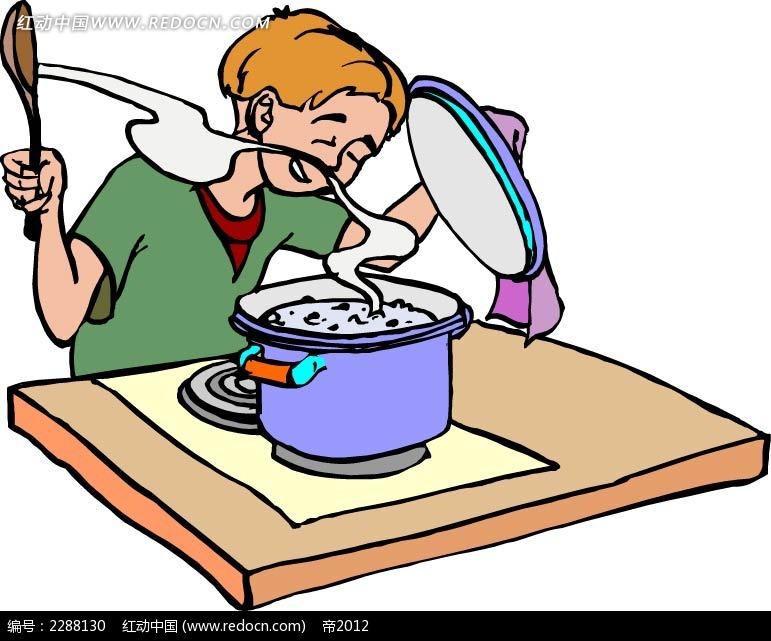 煮饭的男孩卡通手绘