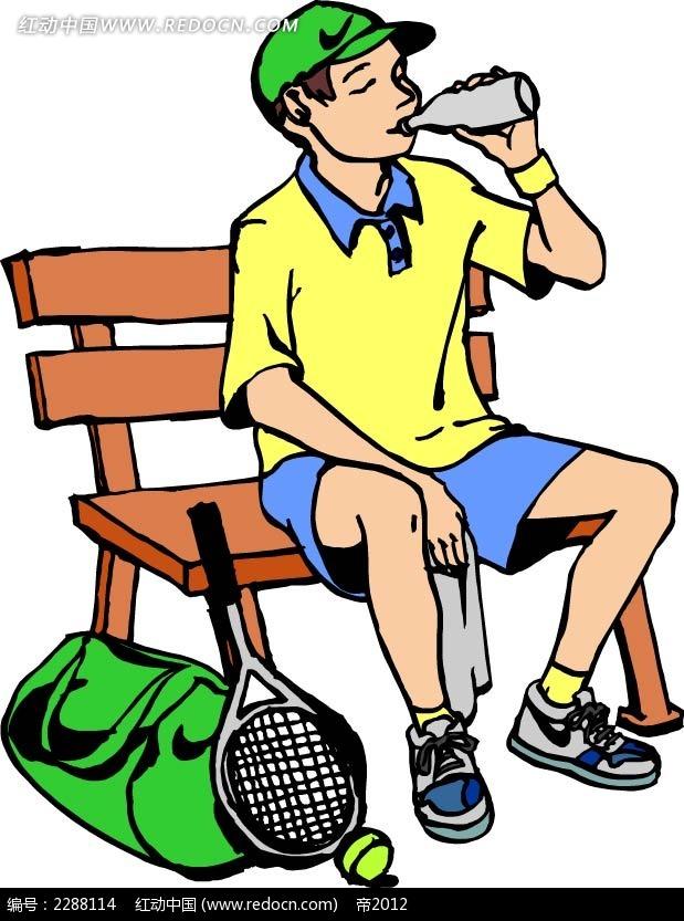 喝水的男孩卡通手绘