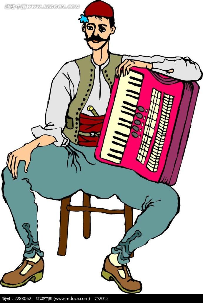 手风琴和男子卡通手绘
