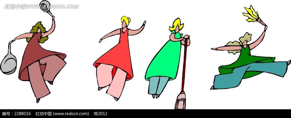 跳舞的女子卡通手绘