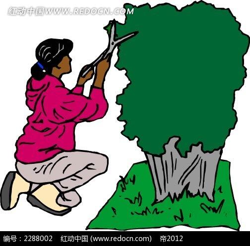 修剪植物的女子卡通手绘