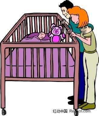 父母和孩子卡通手绘